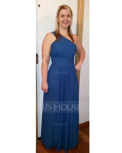 A-Line/Princess One-Shoulder Floor-Length Chiffon Evening Dress With Cascading Ruffles (017051642)