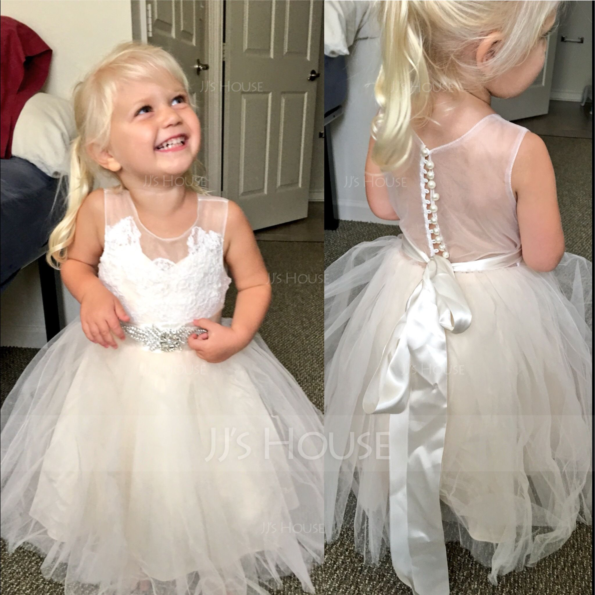 A-Line Knee-length Flower Girl Dress - Tulle Lace Sleeveless Scoop ... 5caff7ea4