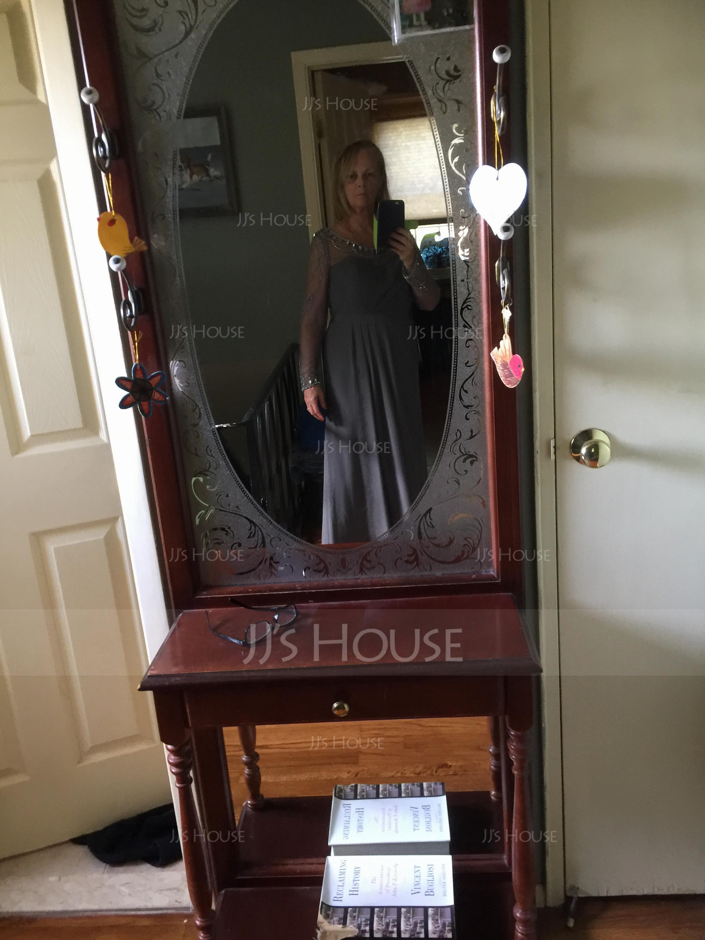 Sheath/Column Scoop Neck Floor-Length Chiffon Evening Dress With Ruffle Beading (271202864)