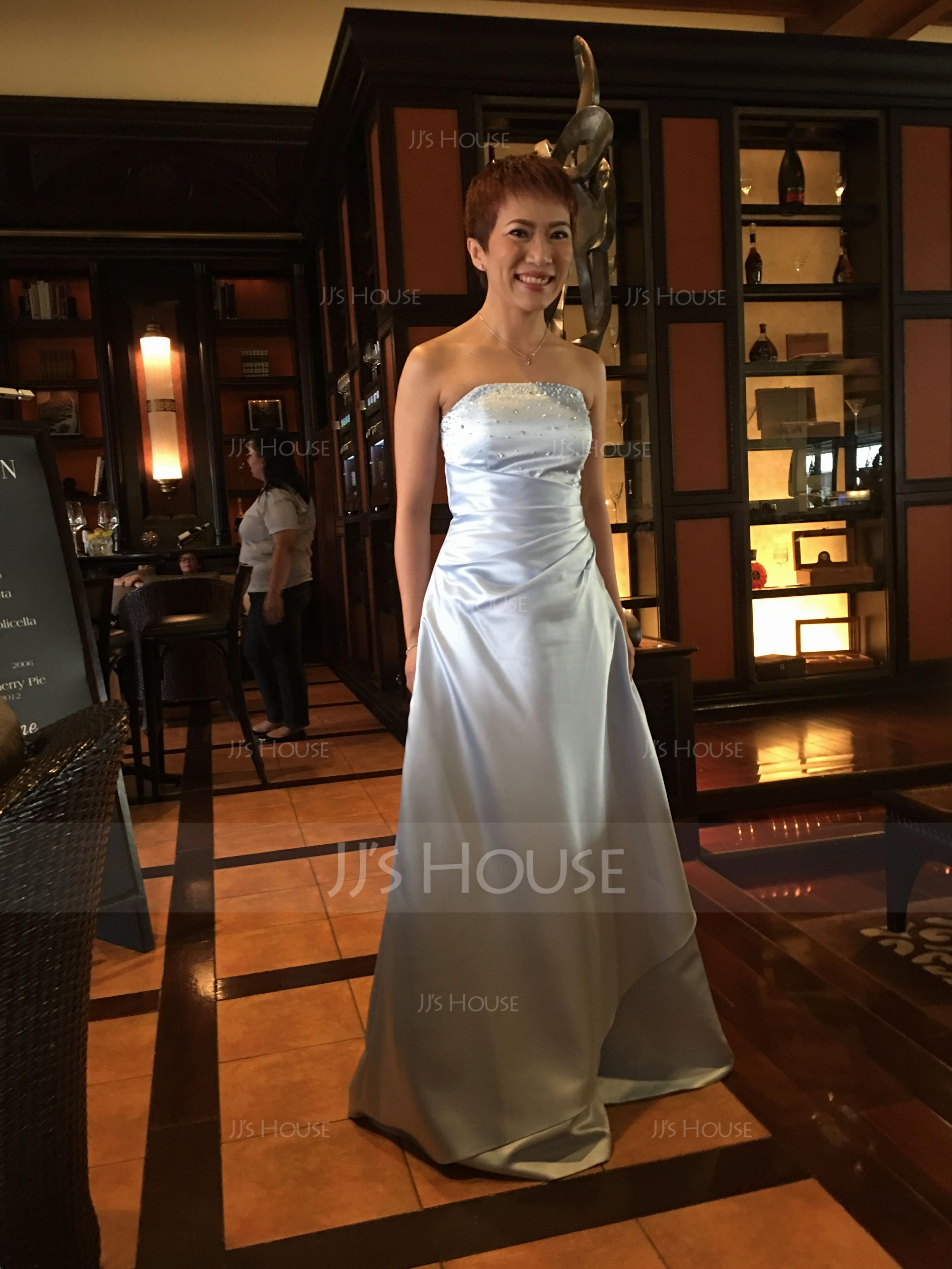 A-Line/Princess Strapless Floor-Length Satin Bridesmaid Dress With Ruffle Beading Sequins (007000982)