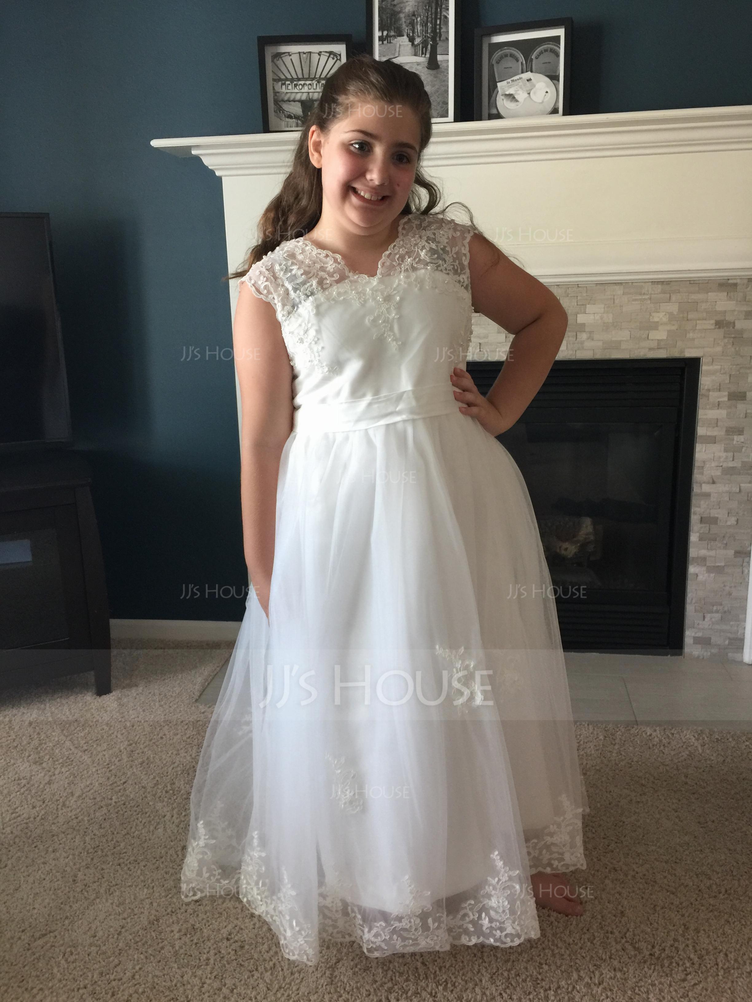 A-Line/Princess V-neck Floor-Length Tulle Junior Bridesmaid Dress With Sash (009136429)