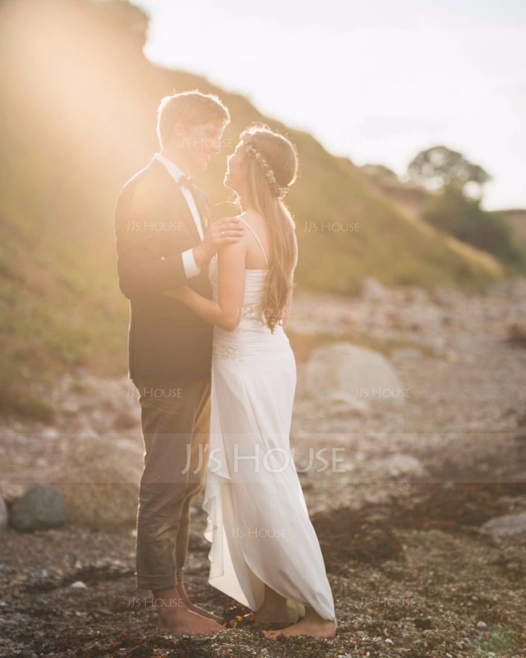 Jacka Älskling Asymmetrisk Chiffong Bröllopsklänning med Beading Applikationer Spetsar Paljetter Svallande Krås (002012020)