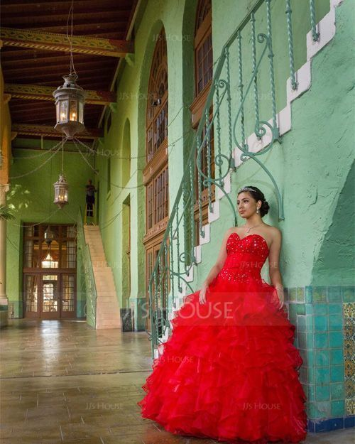 Ball-Gown Sweetheart Floor-Length Organza Quinceanera Dress With Beading Cascading Ruffles (021020619)