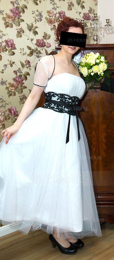 Duchesse-Linie Trägerlos Wadenlang Tüll Brautkleid mit Spitze Schleifenbänder/Stoffgürtel Perlstickerei Schleife(n) (002011609)