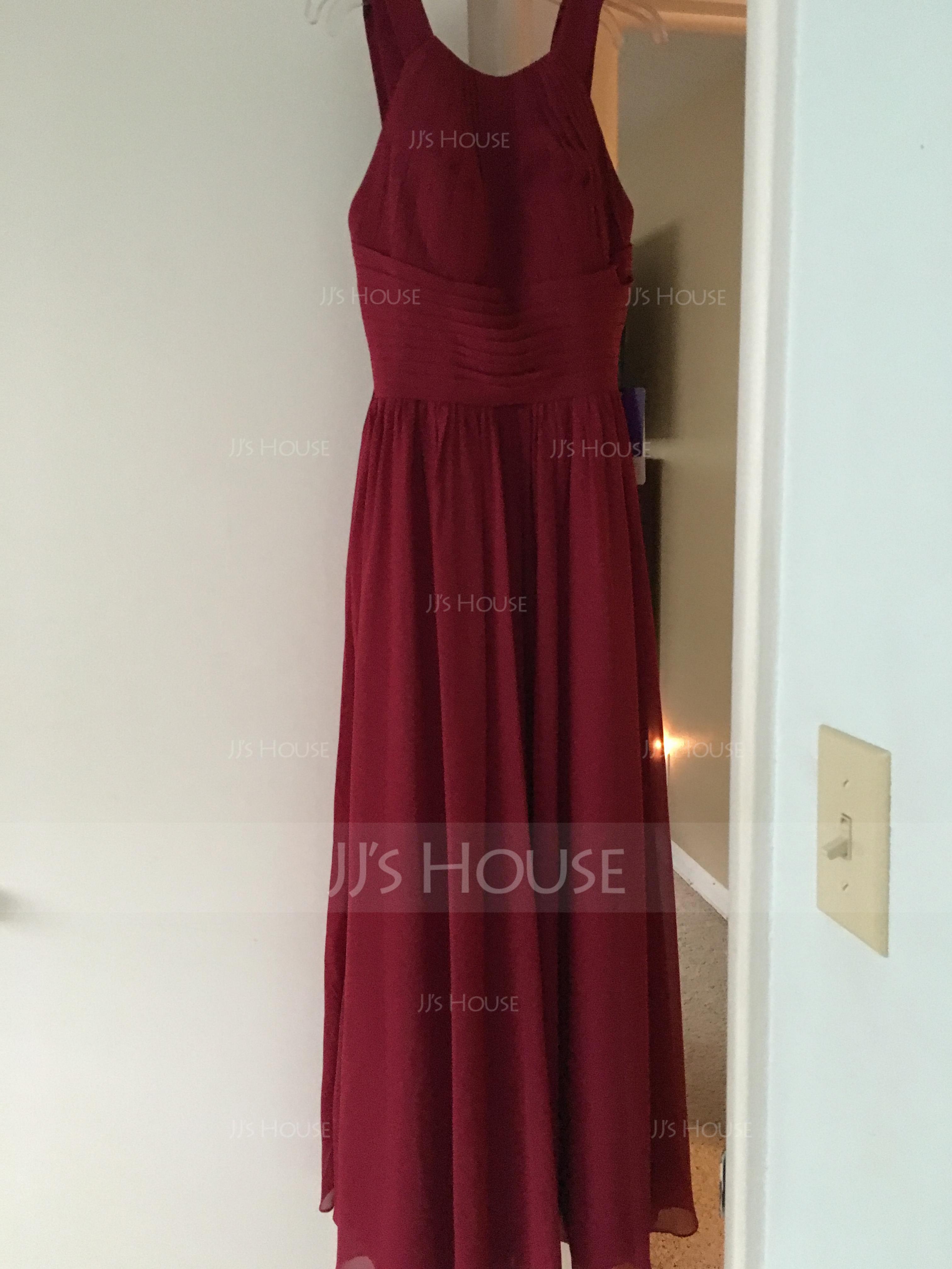 A-Line Halter Neck Floor-length Chiffon Bridesmaid Dress
