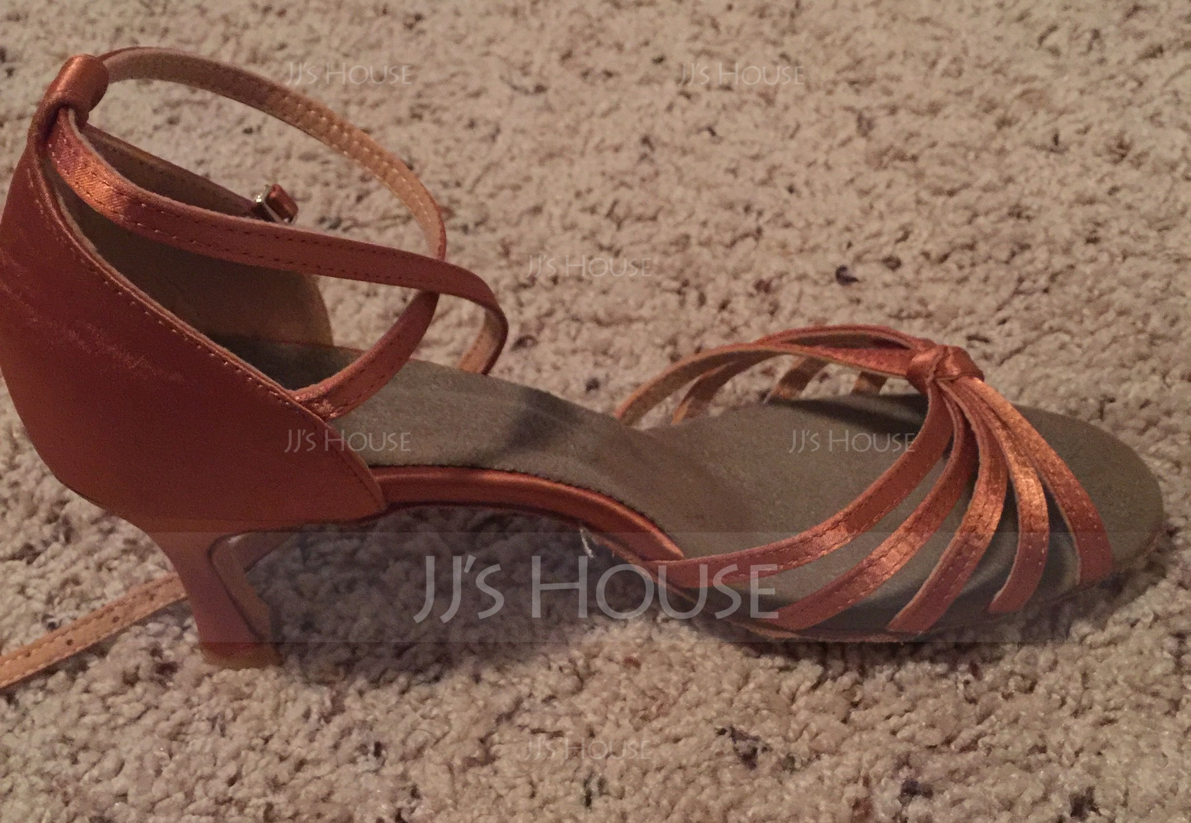 Women's Satin Heels Sandals Latin With Ankle Strap Dance Shoes (053075231)