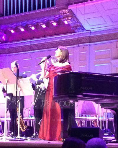 Trumpet/Mermaid Off-the-Shoulder Floor-Length Taffeta Holiday Dress With Ruffle (020025961)