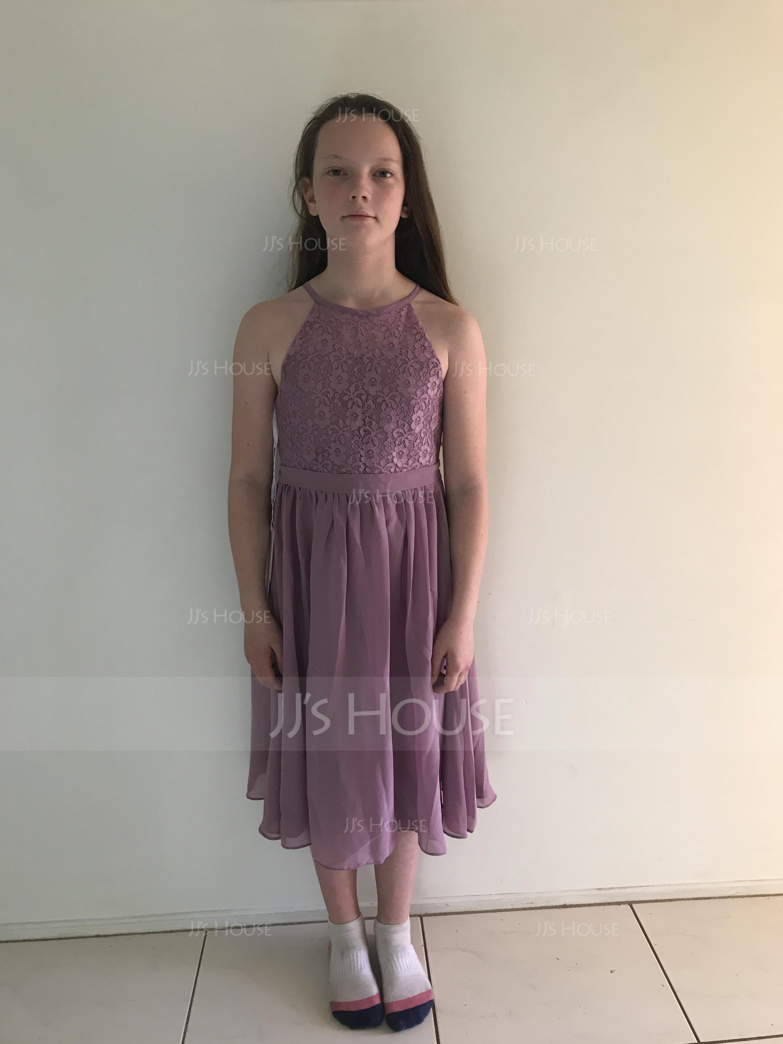 A-Line Scoop Neck Knee-Length Chiffon Junior Bridesmaid Dress (009119575)