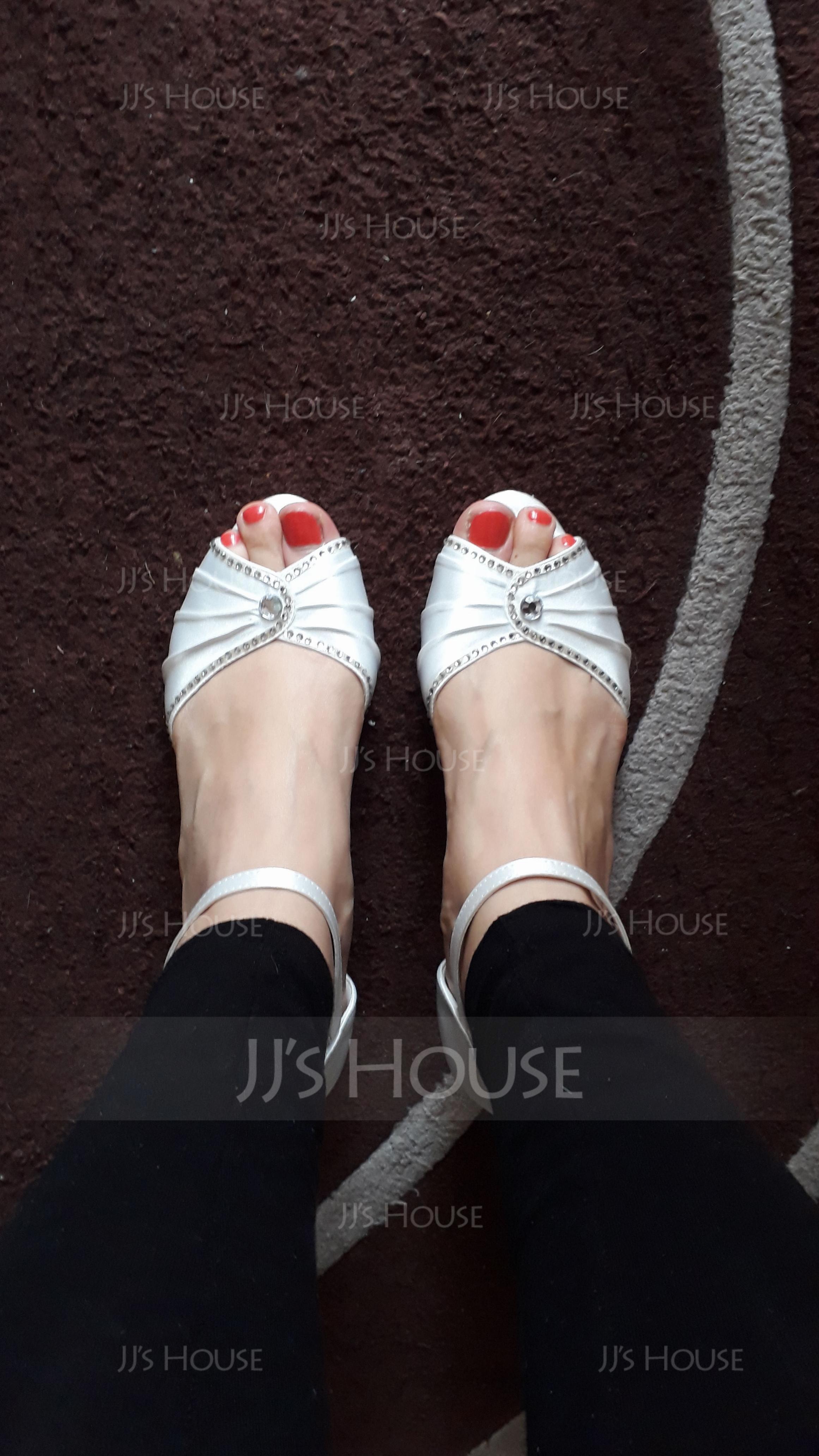 Women's Satin Kitten Heel Peep Toe Sandals With Buckle Rhinestone (047065599)