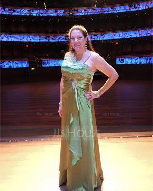 Princesový Délka na zem Charmeuse Večerní šaty S Volán Zdobení korálky flitry (017014689)