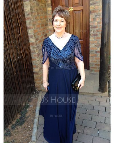 A-Line V-neck Floor-Length Chiffon Mother of the Bride Dress With Ruffle Beading (008018715)