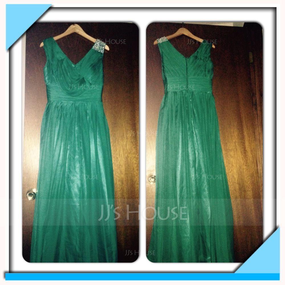 A-Line/Princess V-neck Floor-Length Chiffon Holiday Dress With Ruffle Beading (020016061)