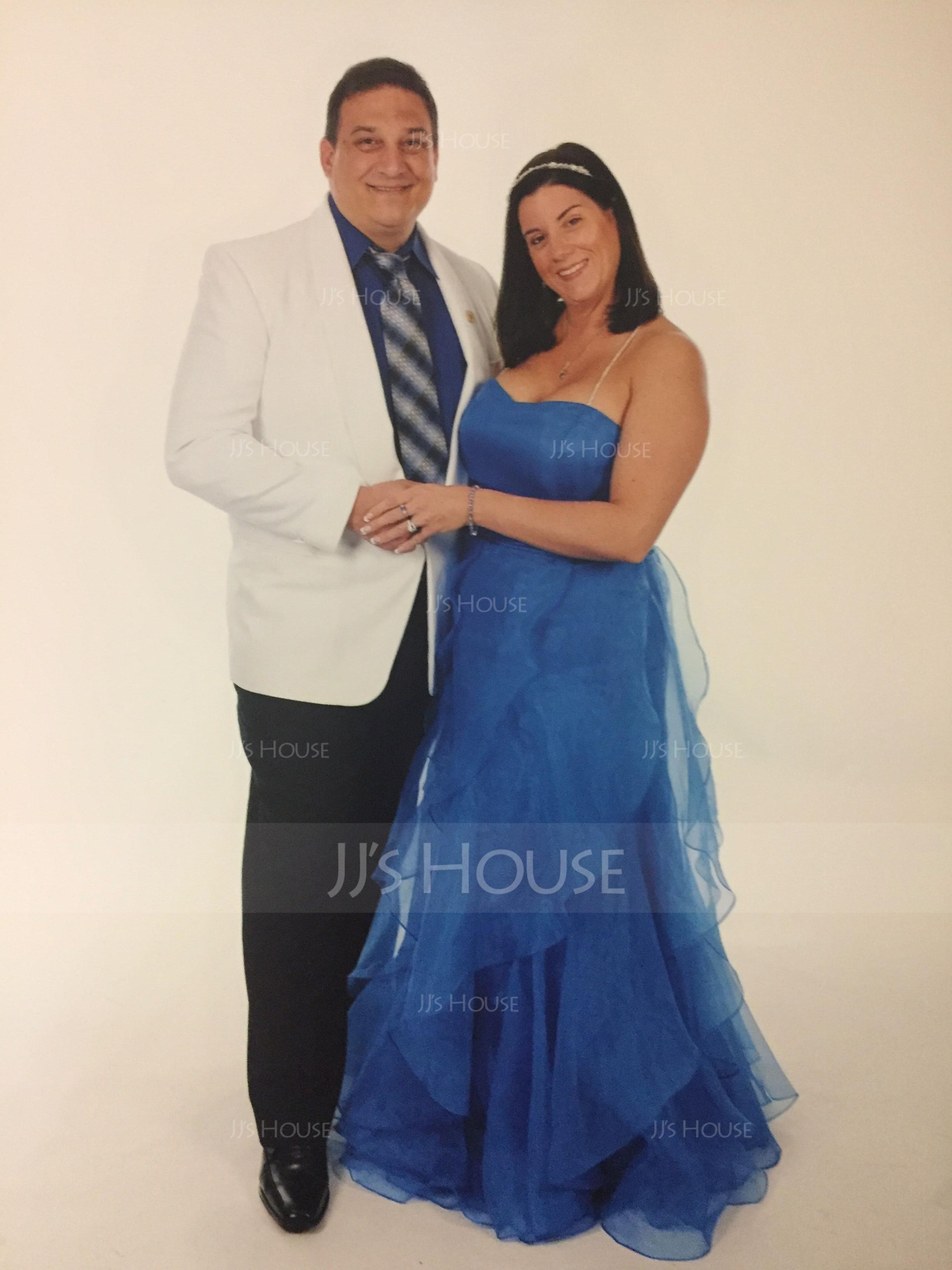 A-Line/Princess Sweetheart Floor-Length Organza Evening Dress With Cascading Ruffles (017013725)