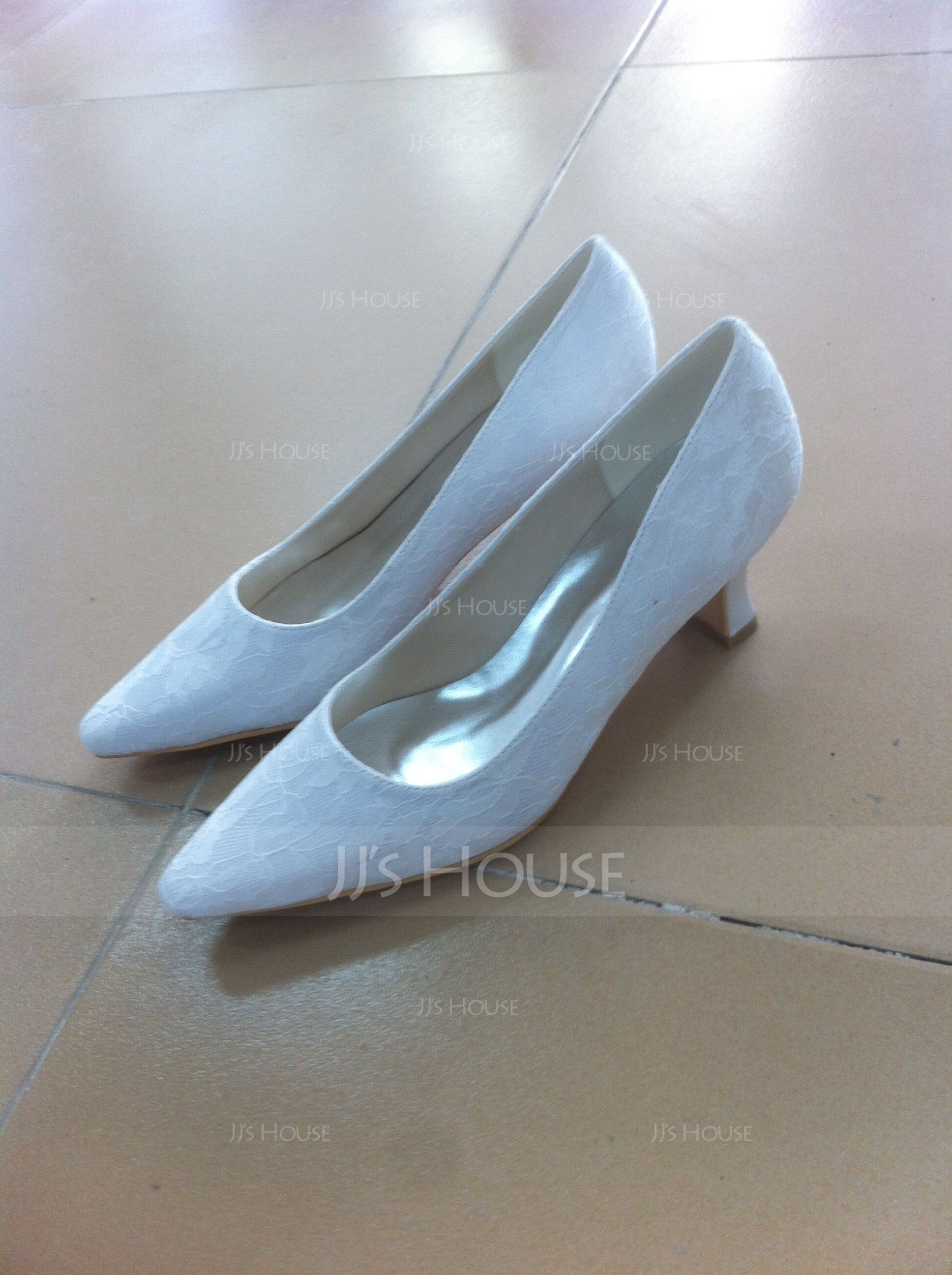 Vrouwen Kant Chunky Heel Closed Toe Pumps (047074156)