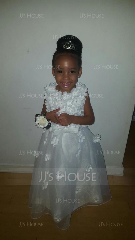 A-Line/Princess Floor-length Flower Girl Dress - Organza Sleeveless Scoop Neck With Flower(s) (010115796)