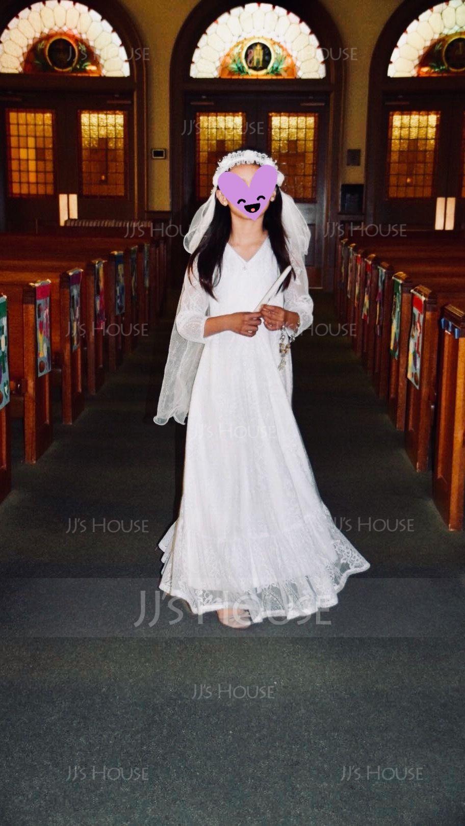 A-Line/Princess Floor-length Flower Girl Dress - Lace Long Sleeves V-neck (010136592)