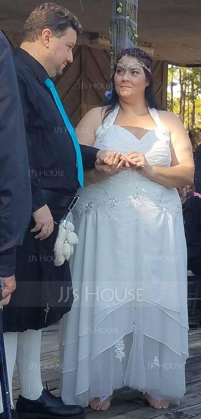 Трапеция/Принцесса С бретелью через шею асимметричный шифон Платье для Отдыха с Рябь развальцовка аппликации кружева блестки (020036568)