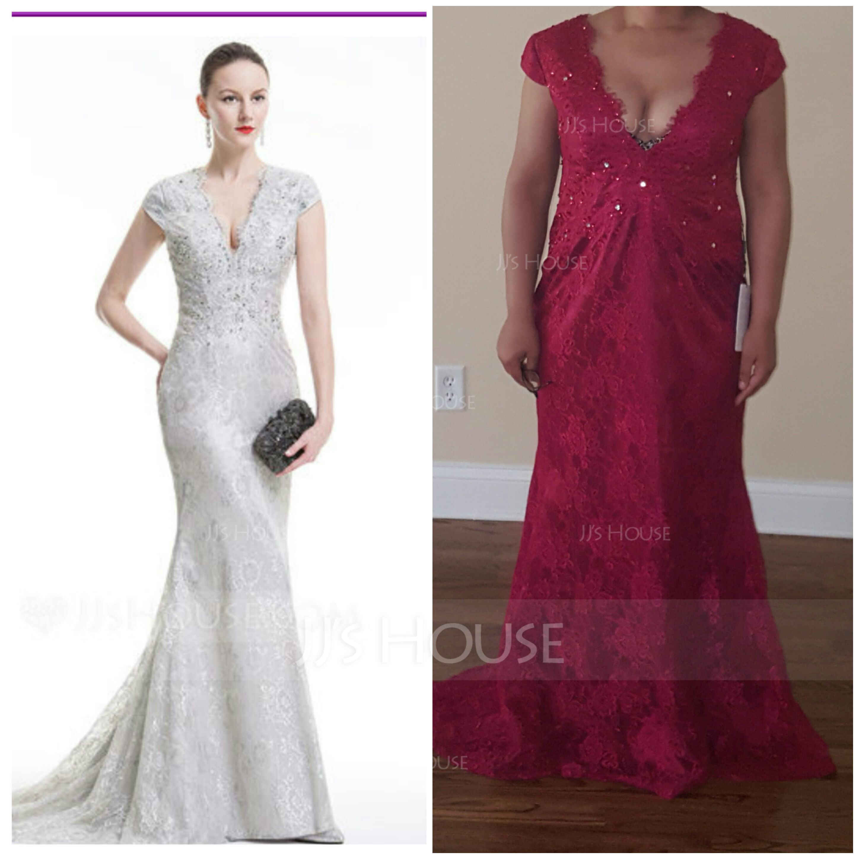 Trumpet/Mermaid V-neck Sweep Train Lace Evening Dress With Beading Sequins (017075014)
