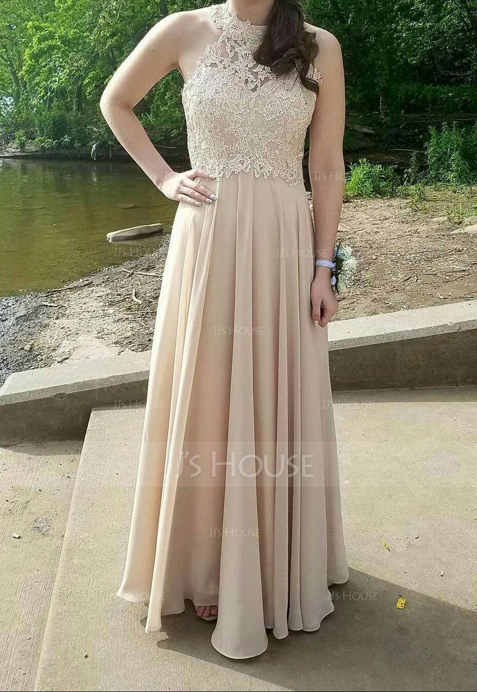 21e2182b052 A-Line Princess Scoop Neck Floor-Length Chiffon Prom Dresses With ...