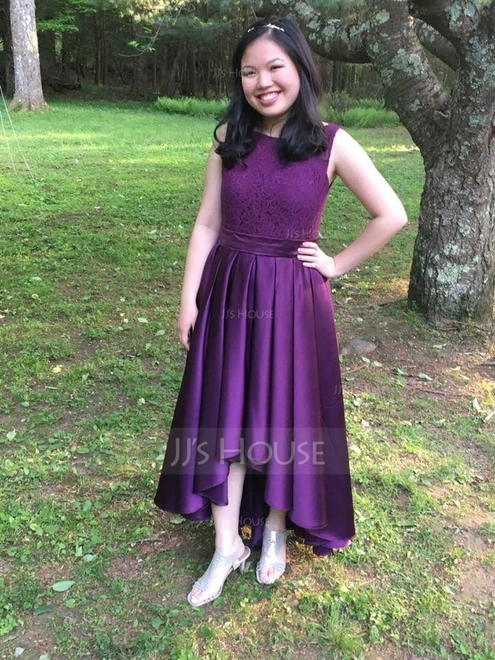 A-Line Scoop Neck Asymmetrical Satin Prom Dresses (018089691)