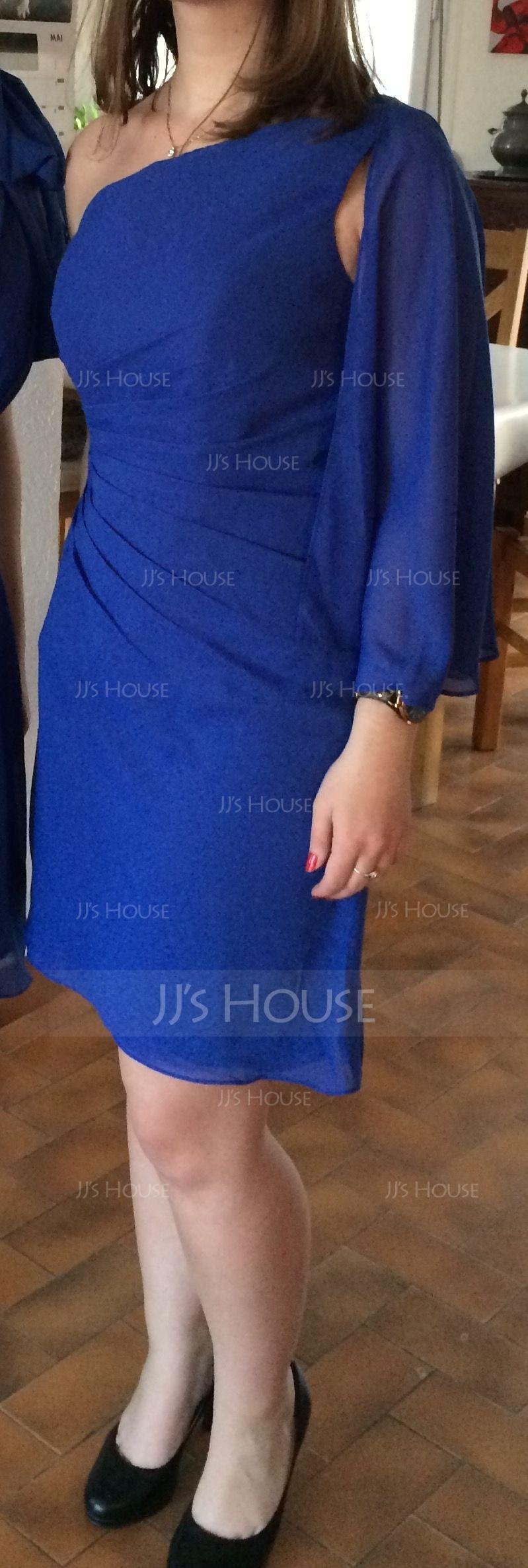 Sheath/Column One-Shoulder Knee-Length Chiffon Cocktail Dress With Ruffle Beading (016008793)