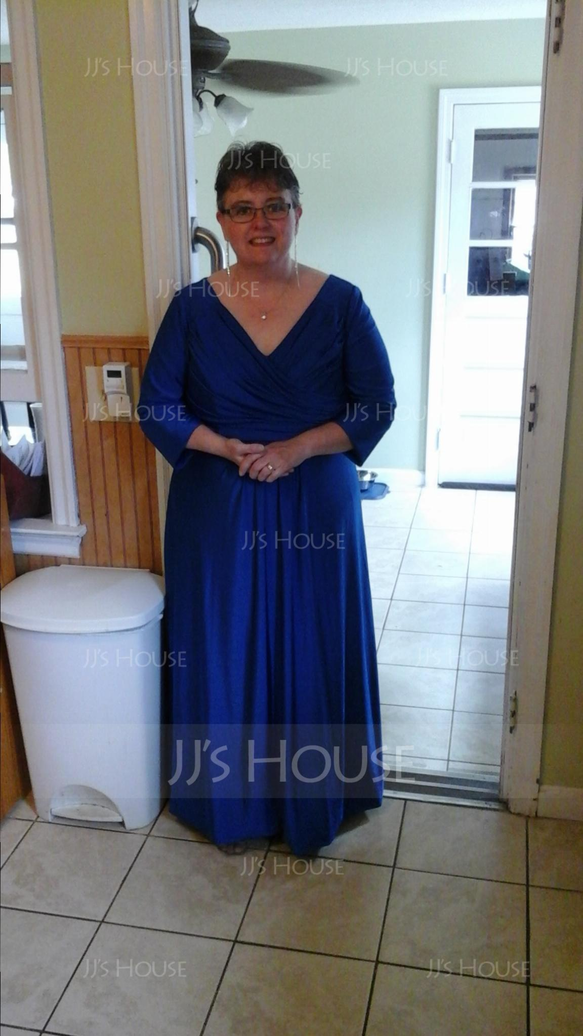 Empire V-neck Floor-Length Jersey Mother of the Bride Dress With Ruffle (008058418)