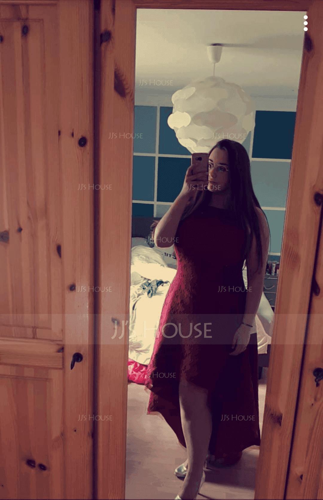 A-Line Square Neckline Asymmetrical Lace Prom Dresses (018138379)