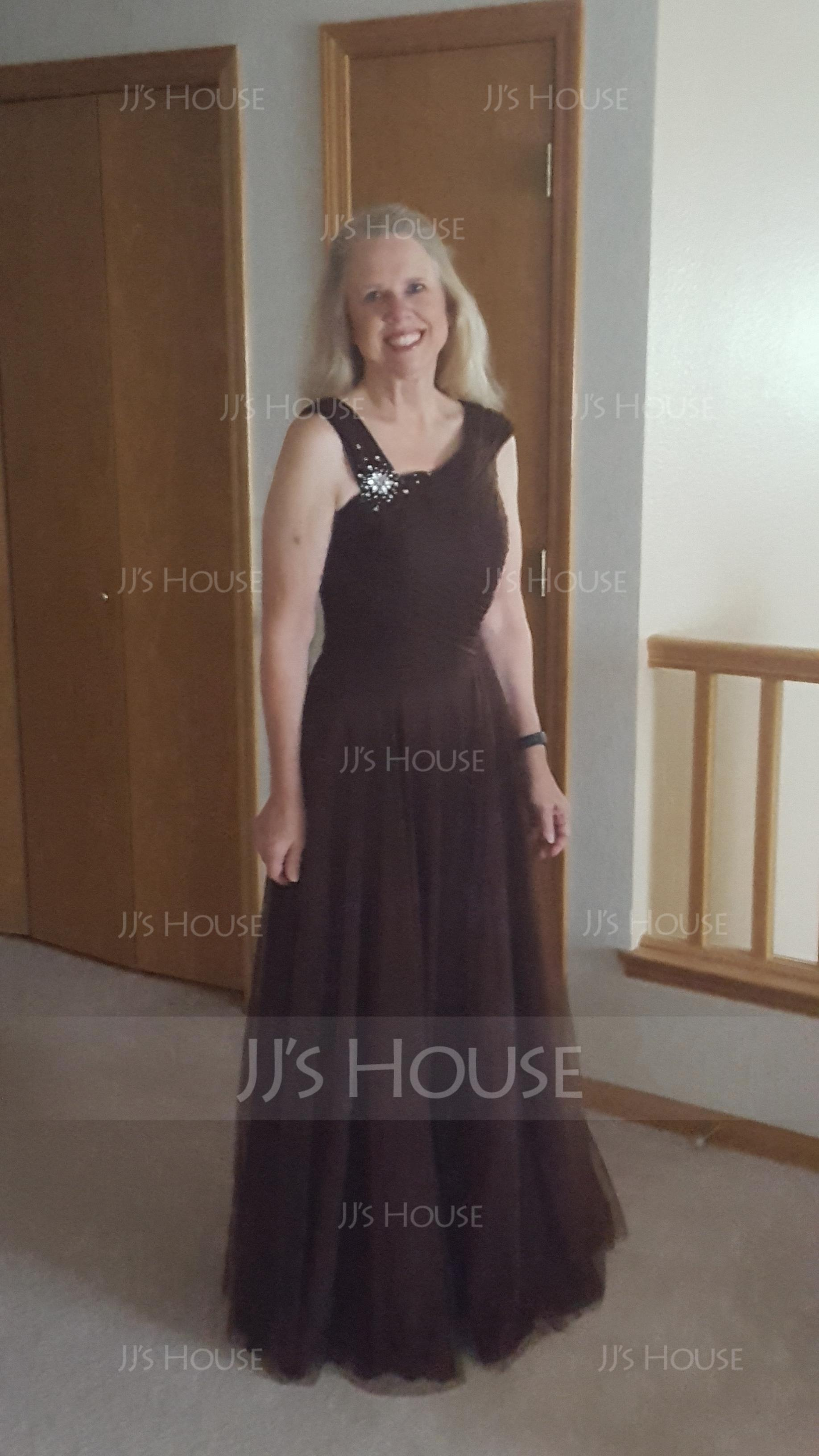 V-neck Floor-Length Tulle Mother of the Bride Dress With Ruffle Beading Sequins (267196374)