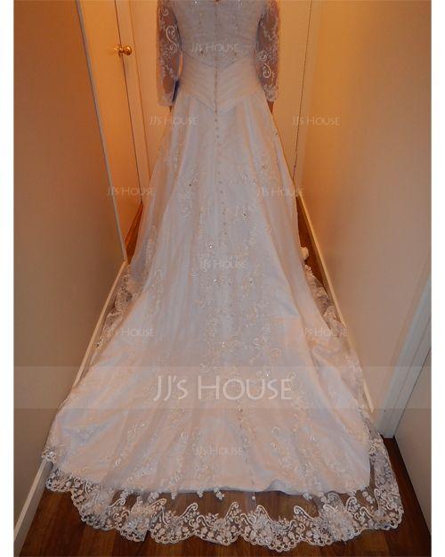 Balklänning V-ringning Chapel släp Satäng Bröllopsklänning med Beading Applikationer Spetsar (002012846)