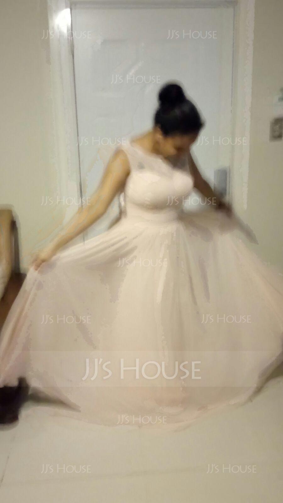 Трапеция/Принцесса Круглый Длина до пола шифон Кружева Платье Подружки Невесты с Рябь (007057702)