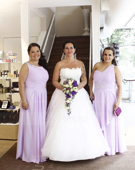 A-Line/Princess One-Shoulder Floor-Length Chiffon Holiday Dress With Ruffle Beading (020015525)