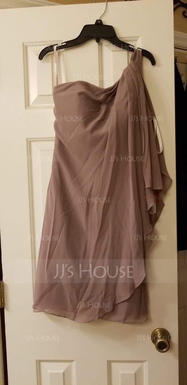 Sheath/Column One-Shoulder Short/Mini Chiffon Cocktail Dress With Ruffle (016021185)