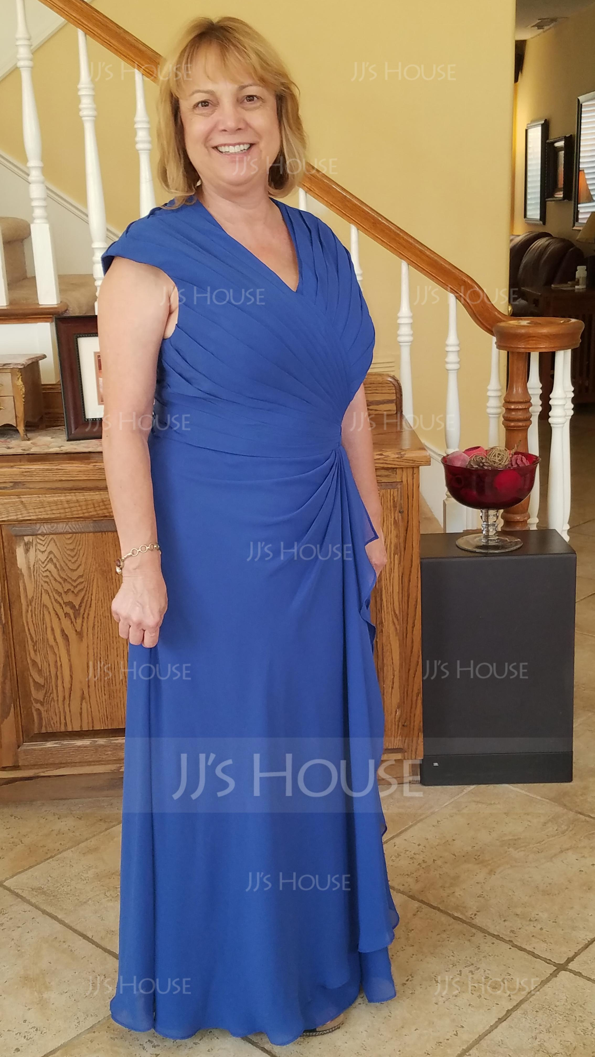 A-Line V-neck Floor-Length Chiffon Mother of the Bride Dress With Ruffle Cascading Ruffles (008006565)