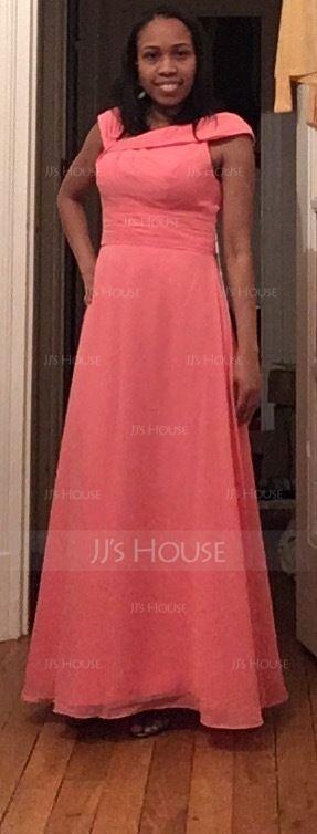 A-Line/Princess V-neck Floor-Length Chiffon Bridesmaid Dress With Ruffle (266177011)