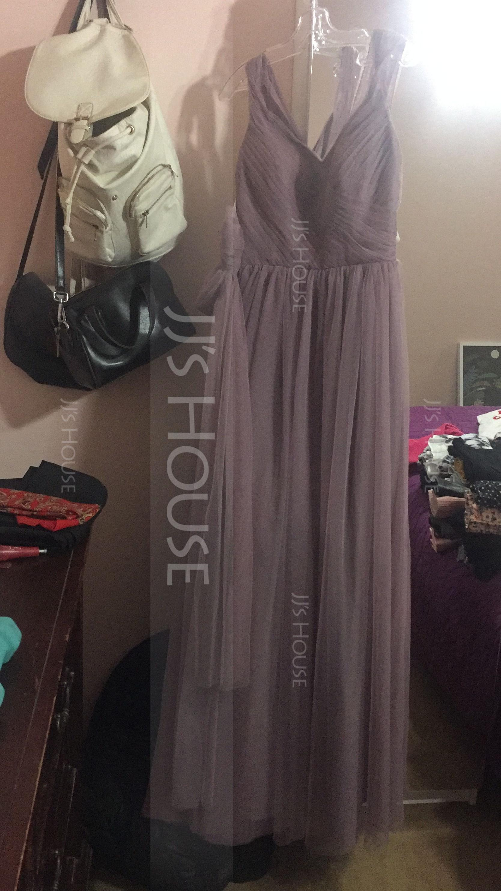 A-Line Sweetheart Floor-Length Tulle Bridesmaid Dress With Ruffle Bow(s)