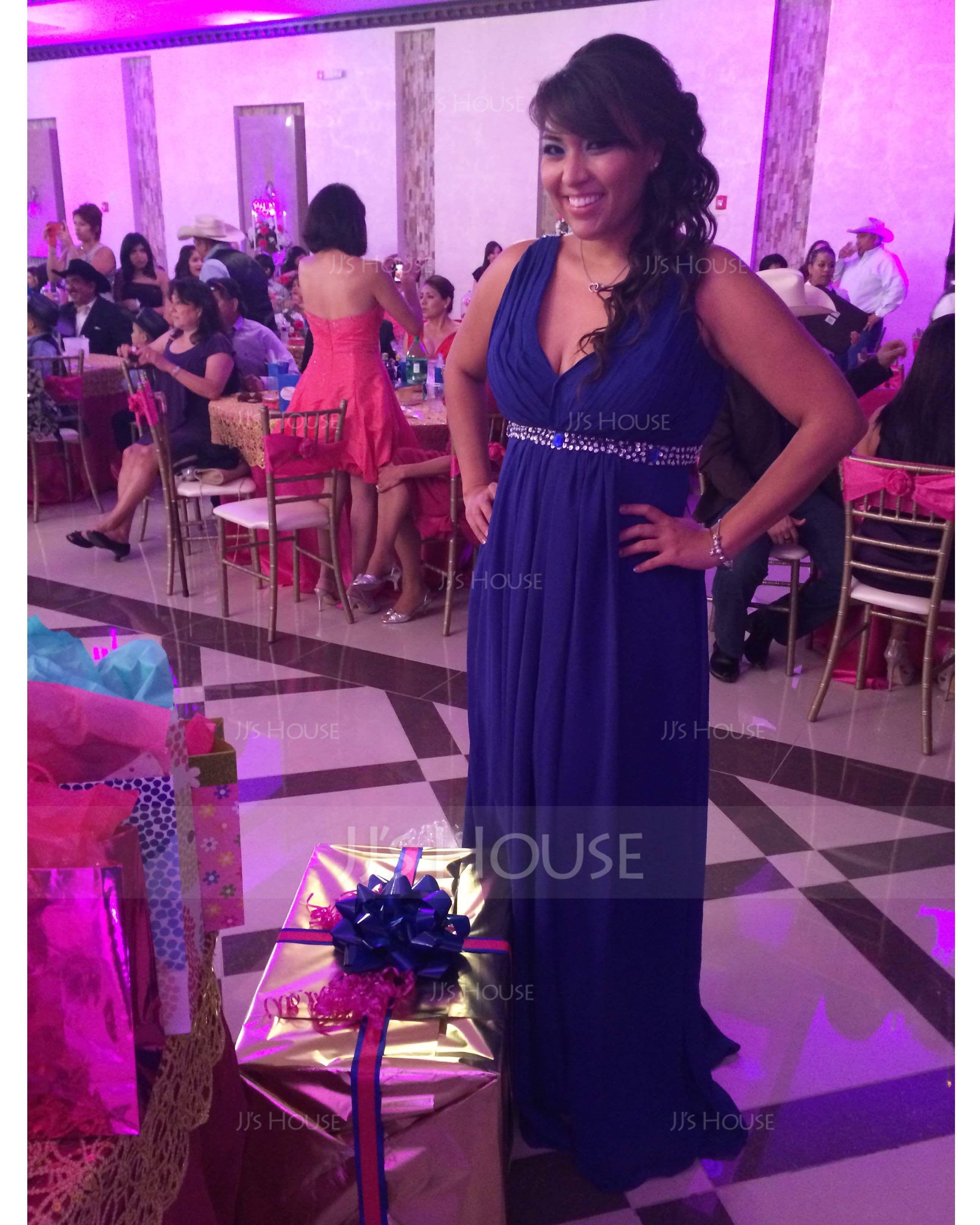 Empire V-neck Floor-Length Chiffon Holiday Dress With Ruffle Beading Sequins (020025947)