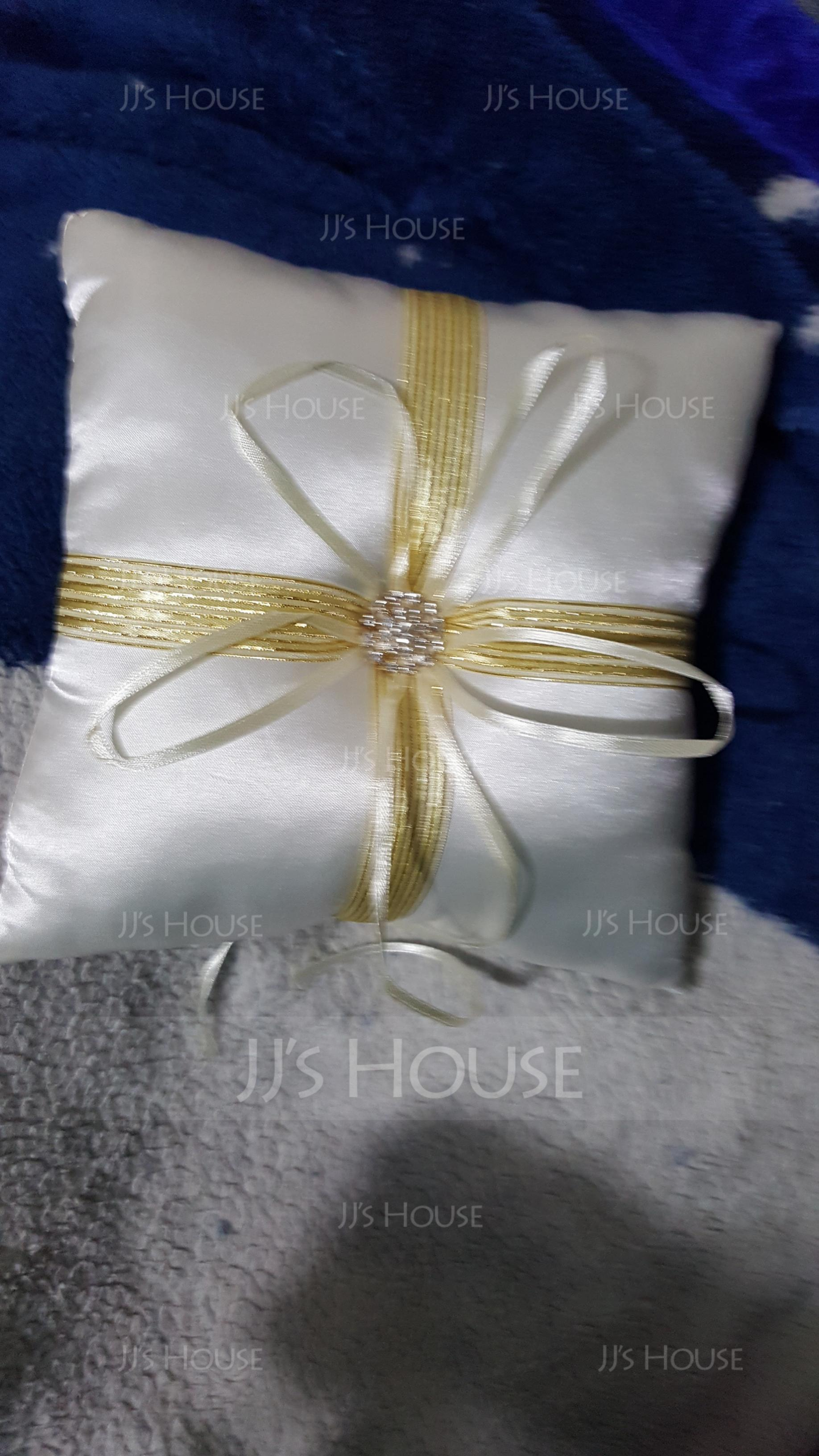 Ring Pillow in Satin With Ribbons/Rhinestones (103018232)
