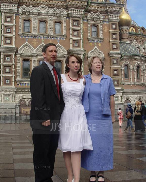 Forme Princesse Col V Longueur genou Mousseline Robe de demoiselle d'honneur avec Plissé À ruban(s) (007027162)