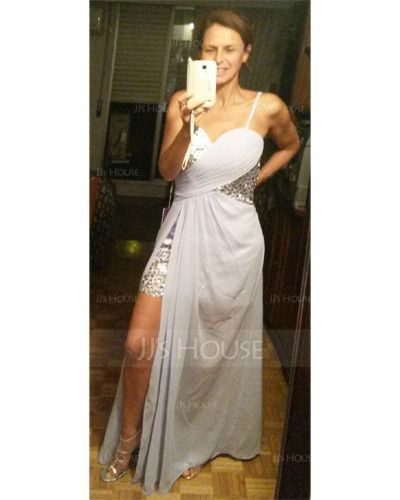 Sheath/Column Sweetheart Asymmetrical Chiffon Prom Dresses (018022506)